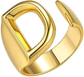 Junxin Initial Letter Ring for Women Gold Silver Open Rings with Initials Chunky Bold Stackable Alphabet Rings for Men Girls