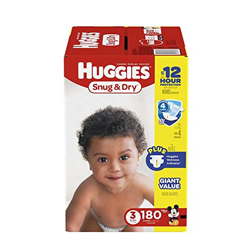 HUGGIES Snug & Dry Diapers, Size 3, 180 Count