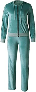Women's Leisure Suit, Sports Suit, Jogging Suit with Zip, Sports Trousers,Green,XL