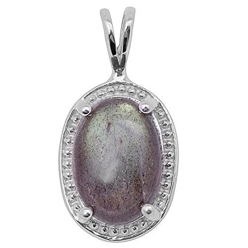 Pendentif en argent 925 avec pierres précieuses Labraborite pour femme