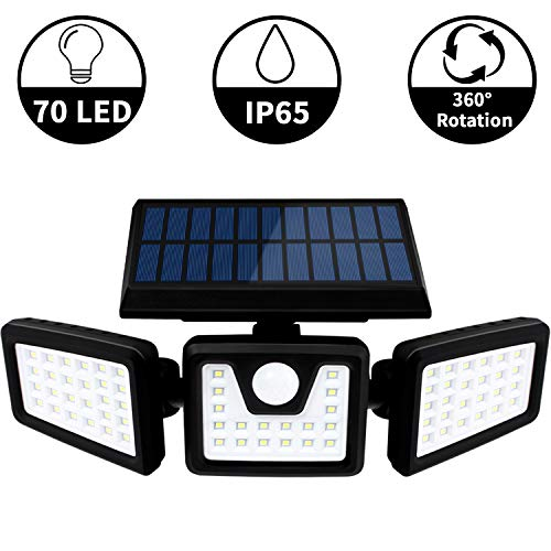 Otdair Solar Security Lights, 3 Head Motion Sensor Lights Adjustable 70LED Flood Lights Outdoor Spotlights 360° Rotatable IP65 Waterproof for Porch Garden Patio Yard Garage Pathway