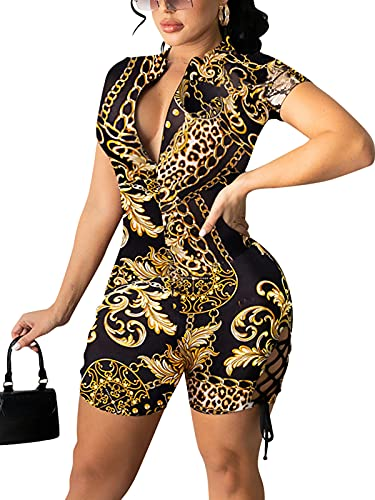 Ekaliy Sexy Club Outfits for Women Summer Cheetah Jumpsuits Gold One Piece Shorts Side Lace Up Jumpsuits Hollow Out Shorts Rompers M