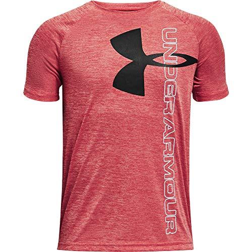 Under Armour Boys' Tech Split Logo Hybrid Short-Sleeve T-Shirt , Red (600)/Black , Youth Small