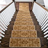 Benissimo Stair Treads Carpet, Landing Latex Non Slip Stair Rugs, Modern Printed Design, Vibrant and Soft Non-Skid Stair Runner for Indoor Wooden Step, Set of 13 (9'x32') + 1(31'x31'), L.Brown