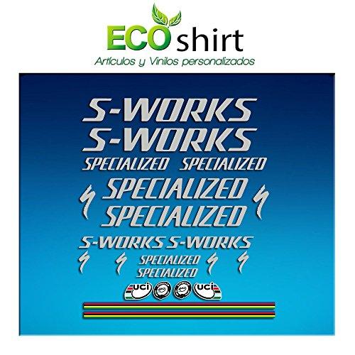 Ecoshirt Y6-FY38-VNOU Aufkleber Stickers S Works Specialized Aufkleber Decals Autocollants Adesivi R84, Silber