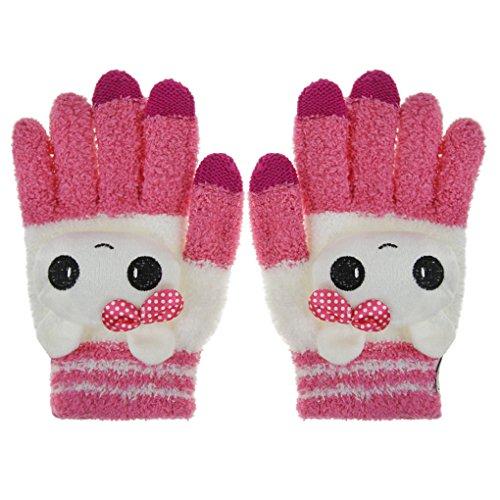 Bao Xin Woolen Touch Screen Winter Glove Super Warm Soft & Cute for Kids (Red Cat)