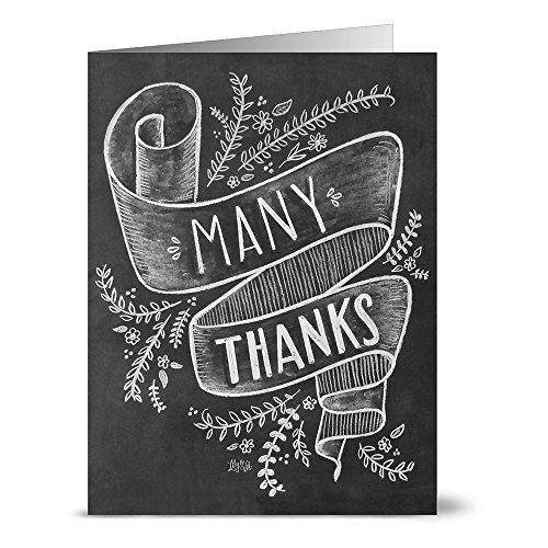 Note Card Cafe Thank You Cards with Kraft Envelopes | 36 Pack | Many Thanks | Blank Inside, Glossy Finish | for Greeting Cards, Occasions, Birthdays, Gifts