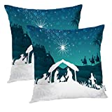 Batmerry Fundas de Almohada de Navidad de 18 x 18 Pulgadas, Coloridas Fundas de Almohada de Doble Cara para sofá o cojín Lumbar