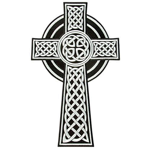 Celtic Cross Patch, Irish Christian Religious Emblem, Celtic Knot Embroidered Iron On Patch, Size: 9.9ʺ x 15.8ʺ