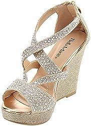 cheap Bella Marie Santo-11 Women's Rhinestone Wedge Platform Sandals, Champagne 6