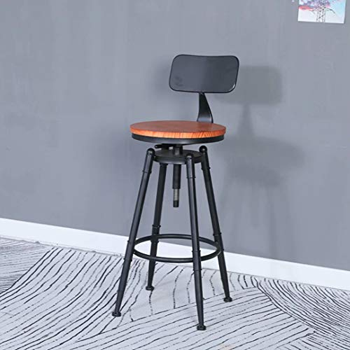 Bar Stools, Outdoor Swivel Barstool, Kitchen Counter Dinning Set Height Adjustable Pipe Stool, Industrial Style Solid Wood Metal Round Stool (Brown PU)