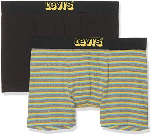 Levi's Herren Levis 200SF Triple Vintage Stripe Boxer Brief 2P Boxershorts, Mehrfarbig (Middle Grey Melange 758), Medium (Herstellergröße: M) (2er Pack)