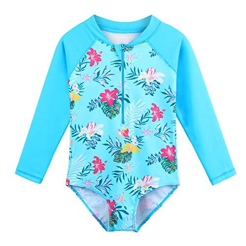 HUAANIUE Dziewczyny UPF 50+ UV jednoczęściowy strój kąpielowy dzieci body stroje plażowe z zamkiem błyskawicznym surfing różowy kostium kąpielowy dla dzieci 4-11 lat (niebieski kwiat, 5-6 lat (numer artykułu: 116/122))