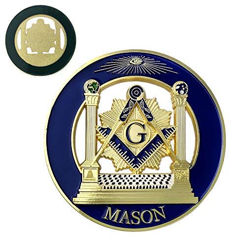 Square & Compass Round Masonic Car Emblem Badge Blue & Gold Freemason Auto Decal