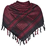 Military Shemagh Tactical Desert 100% Cotton Keffiyeh Scarf Wrap,Q-red