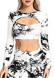 fittoo yoga top donna anti-cellulite sexy tuta yoga t shirt sport manica lunga fitness shirt abbigliamento sportivo
