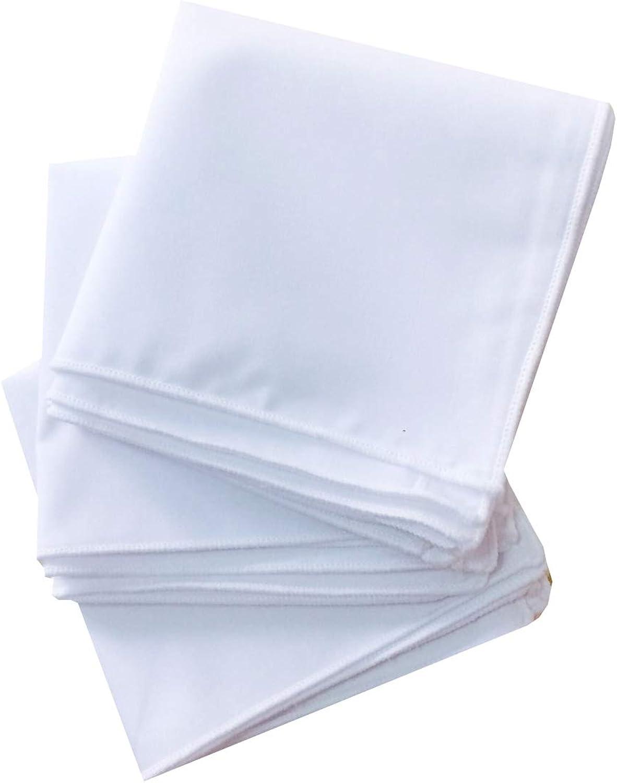 BonjourMrsMr Solid White Cotton Pocket Square 3-Pk Set