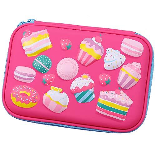 Estuche para tartas con diseño de postres en relieve, tamaño grande, con compartimentos para bolígrafos, para niñas, bolsa de cosméticos, organizador de papelería, color hot pink