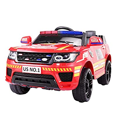 TOBBI 12V Kid Ride on Police Cop Car Battery Powered Electric Truck with Parental Remote Control, Siren, Flashing Lights, Bluetooth, Music, Spring Suspension, Red