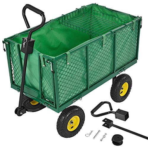 Juskys Metall Gartenwagen mit herausnehmbarer Plane 550 kg belastbar – Handwagen mit Luftreifen & Stahlfelgen – Seitenteile klappbar – Transportwagen Bollerwagen