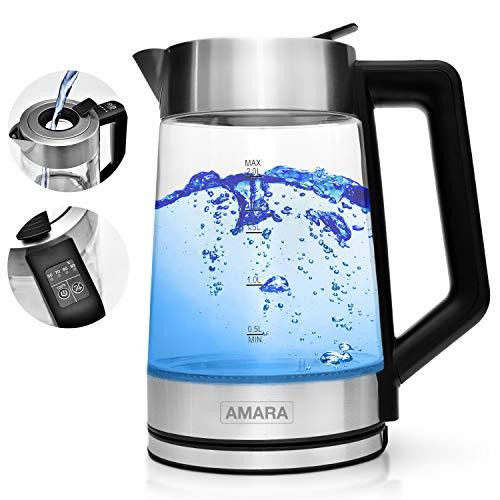 AMARA Wasserkocher Glas mit Temperatureinstellung 2200 Watt 2L besonders leise I Wasserkocher Temperaturwahl 50-100°C I Mit EASY-FILL Befüll-System I LED Farbwechsel zeigt Temperatur an - Wasserkocher