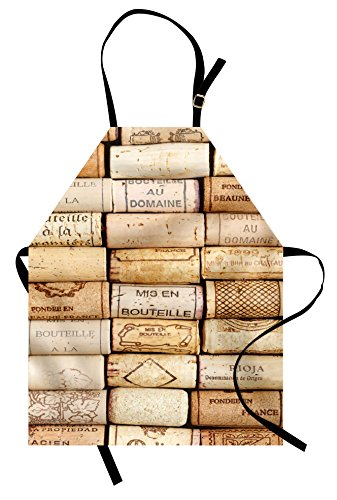 Lunarable Winery Apron, Different Wine Corks Arranged in a Line French Aged Fine Wine Art Print, Unisex Kitchen Bib with Adjustable Neck for Cooking Gardening, Adult Size, Brown Ivory