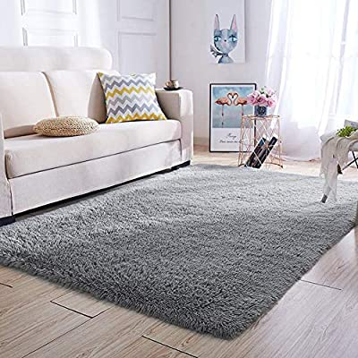 Super Soft Kids Girls Room Nursery Rug 4' x 6' Gray Area Rugs for Boys Bedroom Home Decor Living Room Floor Carpets Fluffy Fur Mat by VaryCarry