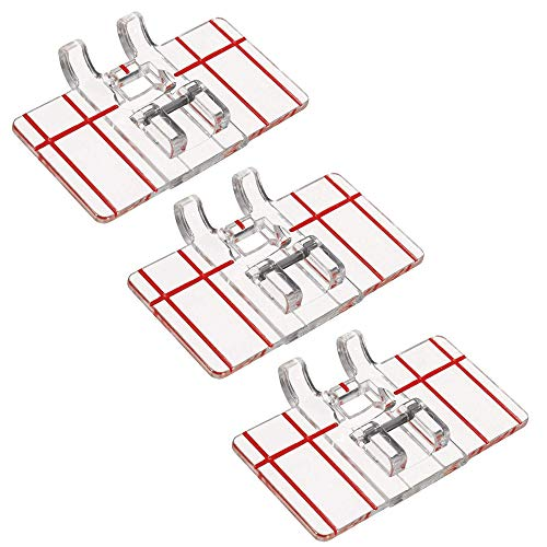 3 PCS Clear Plastic Parallel Stitch Foot, Top-Load Border Guide Foot Presser for Multifunction Domestic Sewing Machine Parallel Stitch Sewing Tool