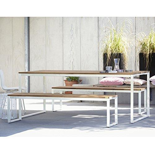 Stelle Tisch 200 x 100 cm - Gestell weiß / Latten Akazie gebeizt