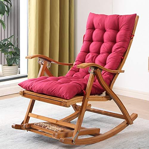 YXWJ Mecedora Sillón Lounging Eje de balancín de Cubierta Que se relaja reclinable Tumbona Asiento de bambú Cubierta al Aire Libre