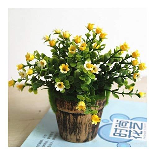 Roovtap 1 Satz grüner Kunststoff Gras Topfpflanze Set Künstliche Blumen Bonsai Blumentopf Hochzeit Home Decoration Wasserpflanze Topf Dried Flower (Color : Yellow 1Set)