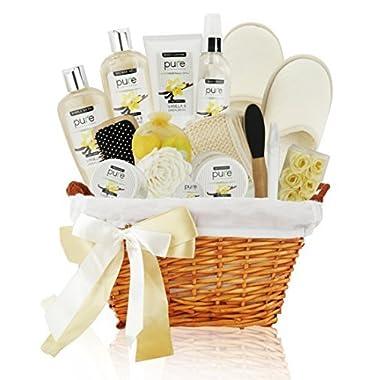 Premium Extra Large Deluxe Bath & Body Gift Basket. Sandalwood Vanilla Aromatherapy Spa Basket for Him & Her. Best Gift Baskets for Men- Boyfriend Gift, Husband Gift etc!