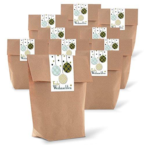 Logbuch-Verlag 25 Weihnachtsbeutel Tüten Beutel Geschenke verpacken Aufkleber klein Weihnachtstüte Verpackung natur grün braun vintage 14 x 22 x 5,5 cm
