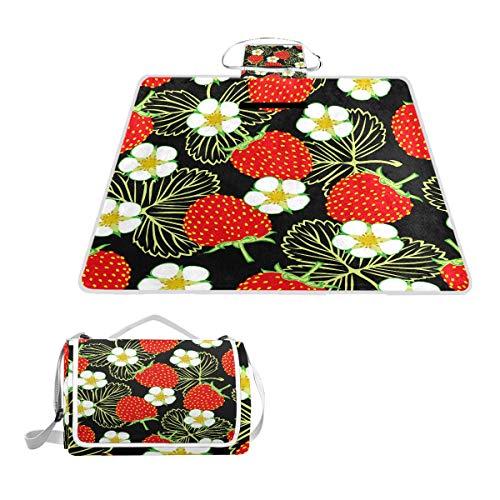 LZXO Jumbo-Picknickdecke, faltbar, Erdbeer-Blumen-Muster, groß, 145 x 150 cm, wasserdicht, handliche Matte, für Outdoor-Reisen, Camping, Wandern.