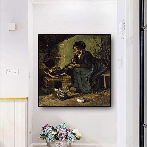 Boerin die bij de open haard zit, posters en prints schildert, muurschilderingen in de woonkamer 60x60cm-frameloos