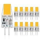 Defurhome G4 LED Bombillas, 3W Reemplaza a las bombillas halógenas de 30W equivalentes, 300LM, Blanco Cálido 2900K, AC/DC 12V, sin parpadeo, No regulable, paquete de 10