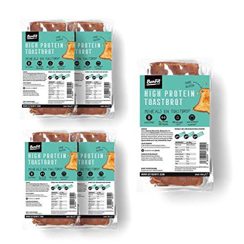 BenFit High Protein-Toastbrot, Eiweißbrot für Diät/Muskelaufbau/Bodybuilding/Fitness/Glutenfrei (5 Packungen)