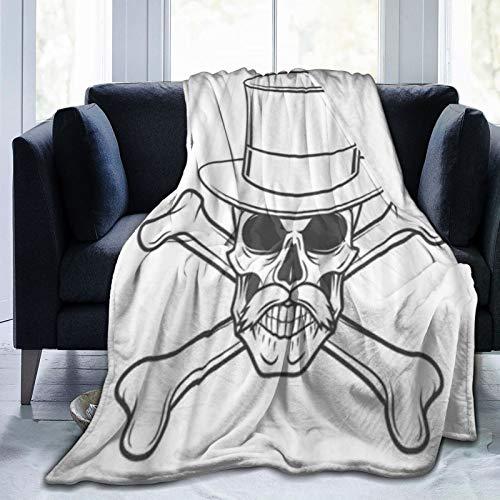 LISNIANY Manta de Franela Suave,Forajido con Bigote Sombrero Alto Calavera,Cama de Camping para sofá 127x102cm