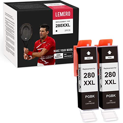 LEMERO Compatible Ink Cartridges Replacement for Canon PGI-280XXL 280 XXL for Canon PIXMA TS9120 TR8520 TS8220 TS9521C TS6220 TS6120 TR7520 TS9520 TS8120 (2 Black)