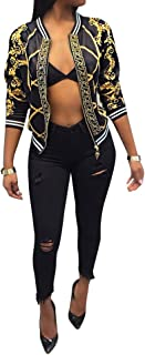 Womens Fashion Vintage Gold Chain Print Short Bomber Jacket Coat