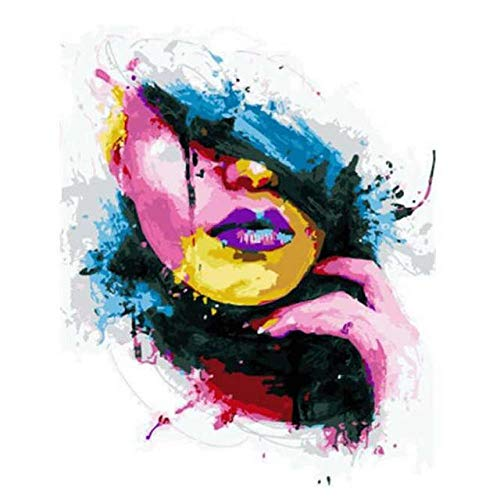 DIY Digital Painting,Abstract Women,Hand-Painted Color Fill,Living Room Oil Painting Decorative Painting 40X50Cm, Zwwcj