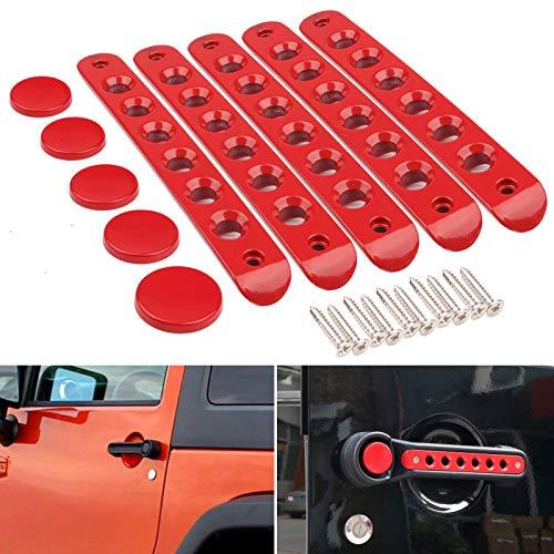 JK Door Handle Inserts, DDUOO Red Aluminum Side Door Grab Handles Knob Cover Trim for Jeep Wrangler Accessories JK Unlimited 4-Door 2007-2017