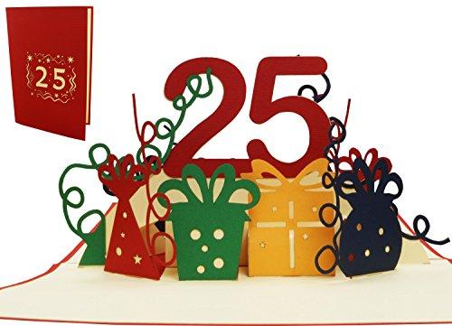 LIN 17532, POP- Up Geburtstagskarte 25, POP UP Karten Geburtstag, 25. silberne Hochzeit, Grußkarten 25 Jahre Jubiläum, 25. Hochzeitstag, 25 Jahre Einladungen, Grußkarten 25 Geburtstag, rot, N286