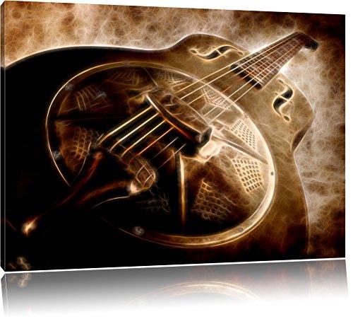 Dark wunderschöne Retro Gitarre aus Metall asbtrakt auf Leinwand, XXL riesige Bilder fertig gerahmt mit Keilrahmen, Kunstdruck auf Wandbild mit Rahmen, günstiger als Gemälde oder Ölbild, kein Poster oder Plakat, Format:80x60 cm