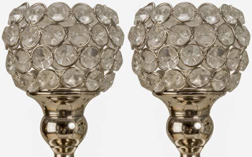 Novaliv 2 accesorios para velas de té I plata 8,5 cm de cristal para candelabro I portavelas de cristal de Adviento portavelas portavelas candelabros