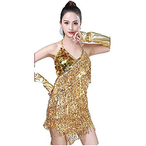 Uiophjkl Latin Dancewear Vrouwen Dancewear Backless Pailletten Ballroom Samba Tango Latijnse Dans Jurk Competitie Kostuums Mouwloos Sway Flapper Cocktail Jurk (Kleur : Goud, Maat : Een maat)