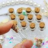 Xiton 50pcs mini botellas de vidrio delicado corcho tapones deseo botellas bricolaje miniatura botellas favor lindo pequeños tarros de vidrio (0.5 ml)