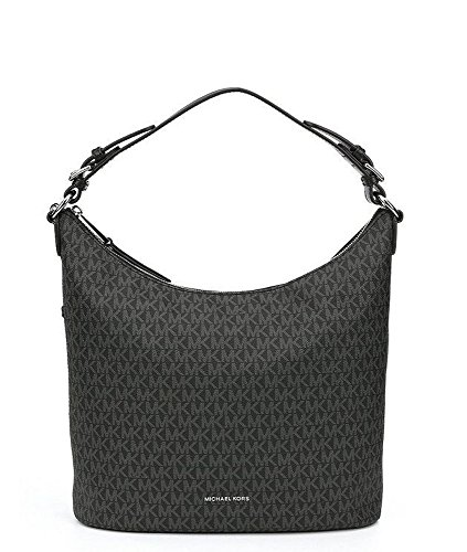Classy Michael Kors signature jacquard fabric with classy black leather trim; polished silverhardware Michael Kors Lupita measures approx. 13 inch x 13 inch x 5 inch Shoulder strap with approx. 8 inch drop; second detachable crossbody/shoulder strap ...