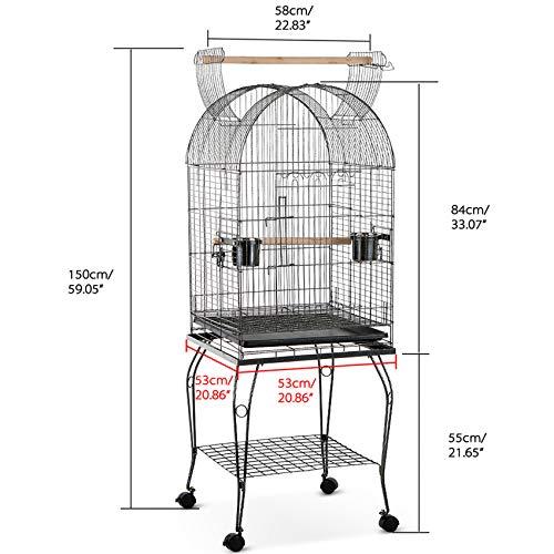 IKAYAA Jaula de Metal Casa para pájaros en Movimiento para Pocjaro Mascotas con Tazon de Acero Inoxidable + Ruedas Bloqueables