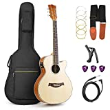Vangoa Acoustic Electric Guitar, 36 Inch 3/4 Size Acoustic-electric Cutaway Guitar Bundle, Spruce Top, Natural